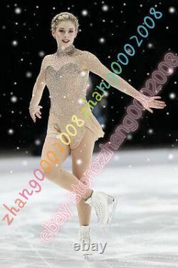 Sparkle Ice skating Competition Figure Skating dress. Skin gold color gym custom