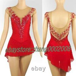 Sparkles Red Ice Skating Dress. Competition Figure Skating Dance Twirling Costume