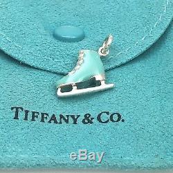 Tiffany & Co Blue Enamel Sterling Silver Ice Skate Figure Skating Charm Pendant