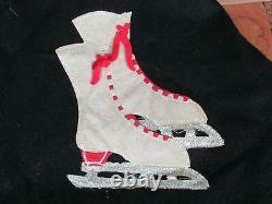 Vintage 1940s Wool Figure Skating Skirt Ice Skate Applique Handmade & Ice Skates