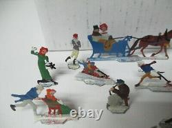 Vintage 20 Piece Nice Germany Lead Flat Christmas Figures Winter Ice Skating