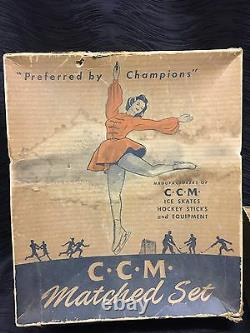 Vintage CCM White Ice Skates with Orig. Box Ladies Size 8 Figure Riedell Pro Style