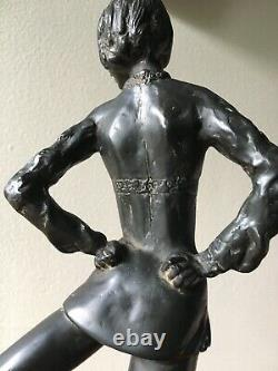 Vintage Ice Skater Skating Sculpture Figure Figurine Signed AA WithFoundry Mark