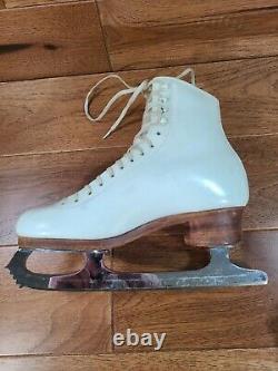Vintage SP TERI Ladies White Leather Figure Skates John Wilson Blades Sz 7.5 AAA