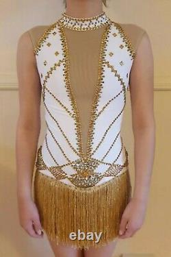 White And Gold Figure Skating Dress Adult Size 4-6 (Approx Age 12) Brand New